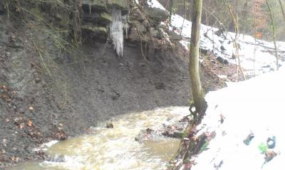 Eisaustritt am Quellhorizont  oberhalb Amaltheenton